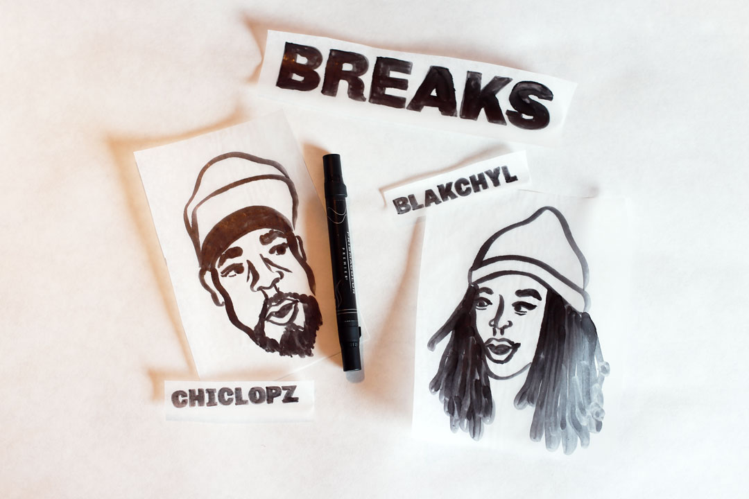 Illustrative portraits of Chiclopz (left) and Blakchyl (right) in black art marker.